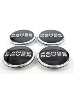 4 Wheel Centre Disc Set Range Rover Emblem  Black/Silver LR02740